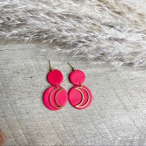 Pink polymer clay earrings with gold moon charm